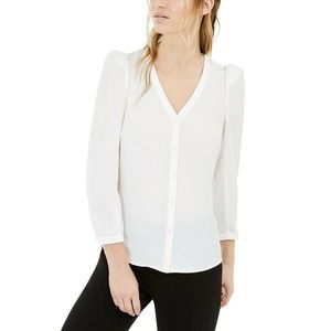 Bar III White Puff Sleeve Blouse V-Neck Sz XL